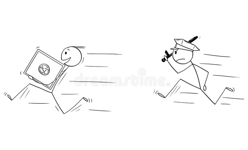 Vector Cartoon of Man or Businessman Thief Running with Bank Vault or Safe, Policeman is Chasing Him. Vector cartoon stick figure drawing conceptual illustration stock illustration