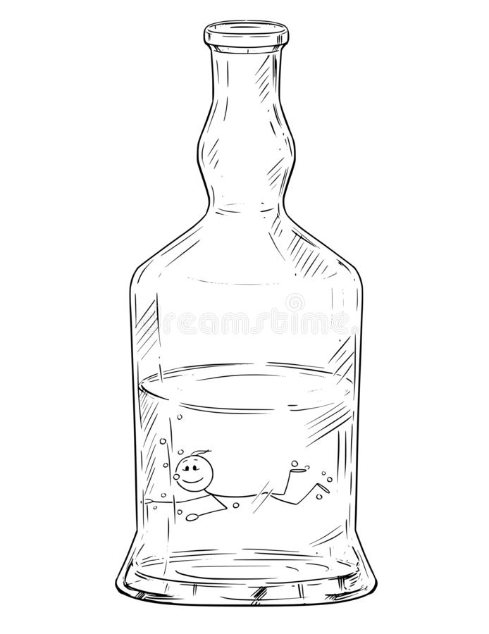 Vector Cartoon of Man Swimming in Hard Liquor or Spirits Bottle. Alcoholism Metaphor. Vector cartoon stick figure drawing conceptual illustration of man swimming stock illustration