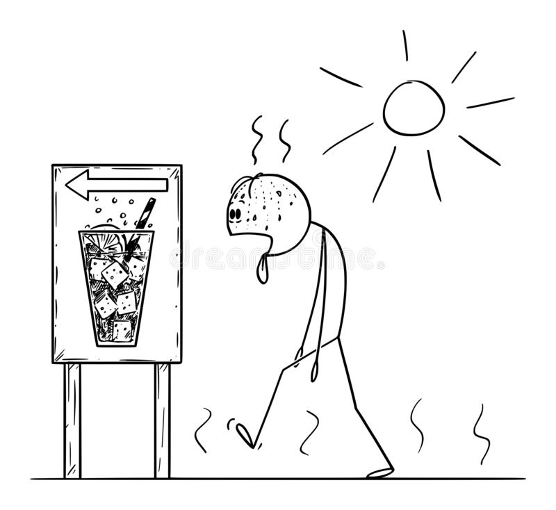 Vector Cartoon of Man Thirsty Exhausted Man Walking in Summer or Sunny Day to Buy Cold Drink or Soda. Vector cartoon stick figure drawing conceptual illustration stock illustration