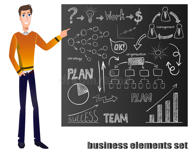 VECTOR cartoon man in yellow sweater points on blackboard with chalk drawing business elements stock illustration