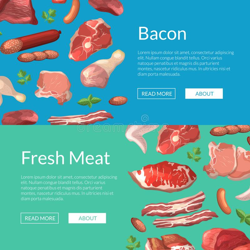 Vector cartoon meat elements horizontalweb banners illustration stock illustration