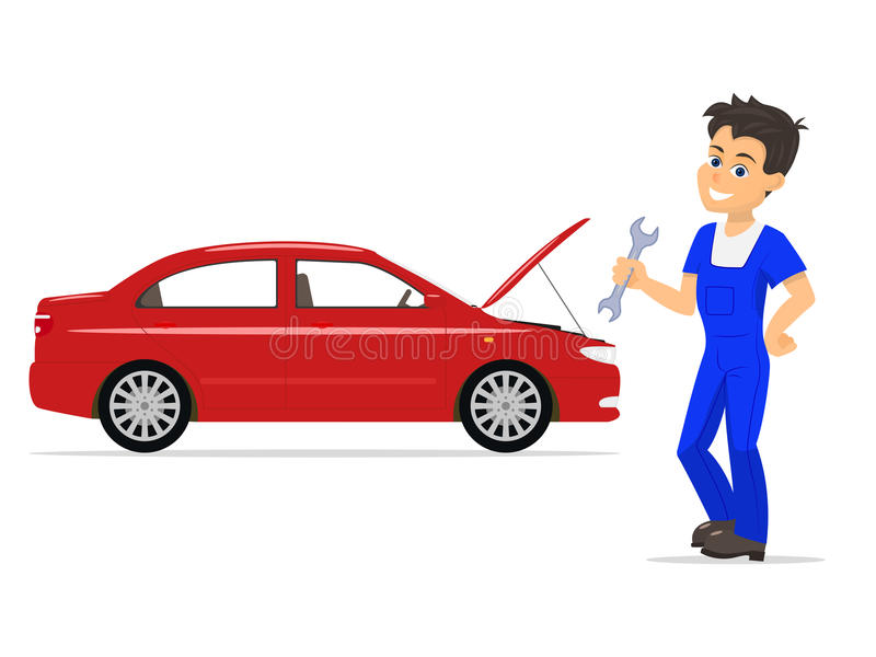 Vector cartoon mechanic man with wrench. Vector illustration cartoon mechanic man with a wrench. Isolated white background. Concept of business service car vector illustration