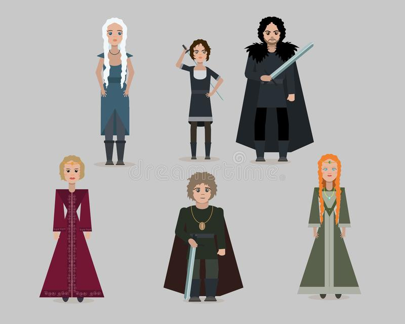 Vector cartoon medieval characters. stock illustration