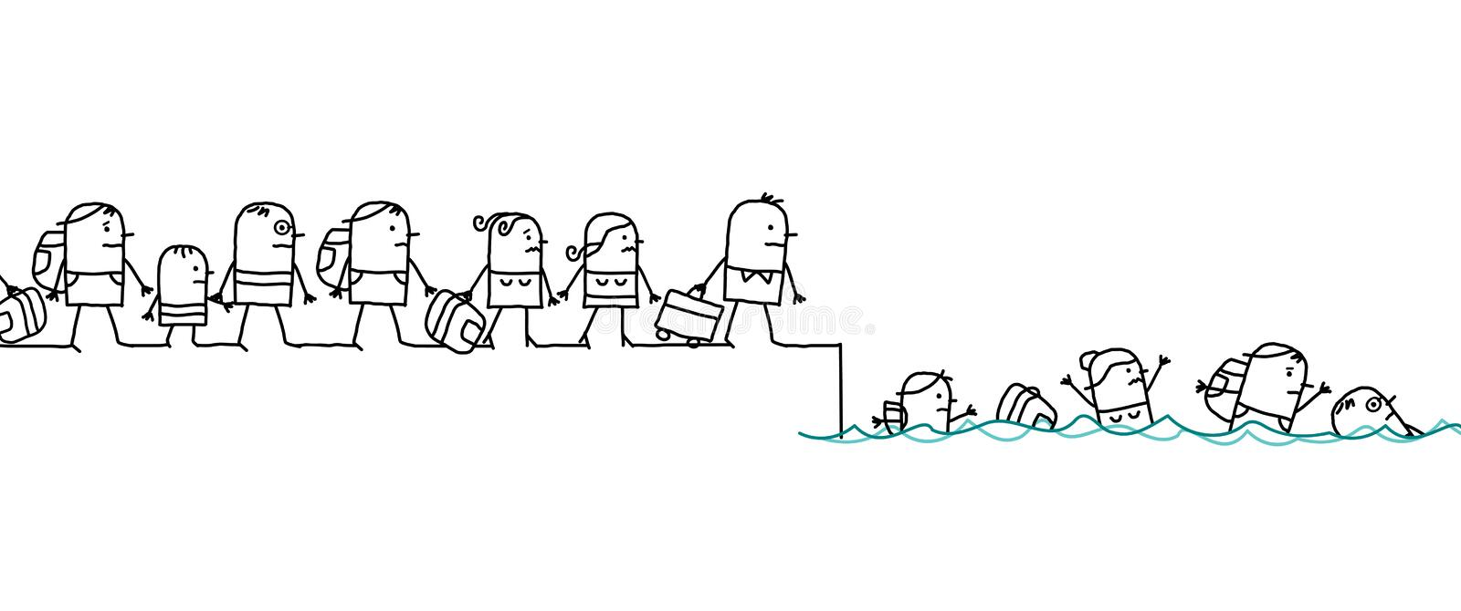 Cartoon Migrating People. Vector Cartoon Migrating group of People stock illustration