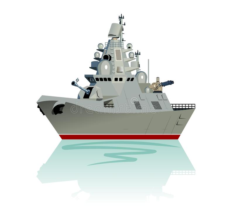 Vector cartoon modern military frigate isolated on white. Vector cartoon modern military frigate. Available EPS-10 separated by groups and layers vector illustration