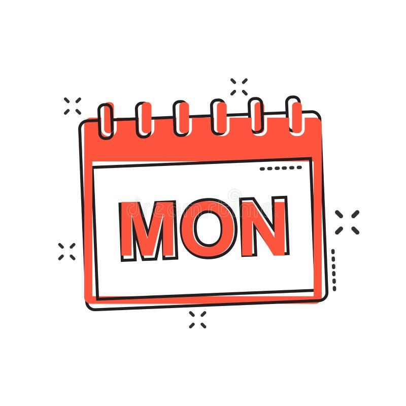 Vector Cartoon Monday Calendar Page Icon In Comic Style. Calendar ...