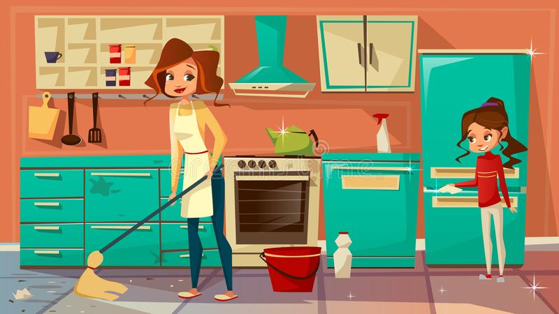Vector cartoon mother daughter cleaning together stock illustration