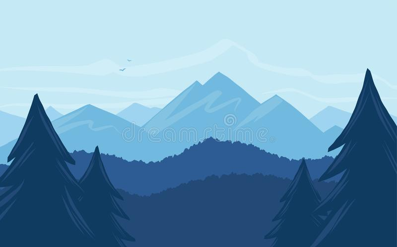 Vector cartoon mountains landscape with silhouette of pines on foreground. vector illustration