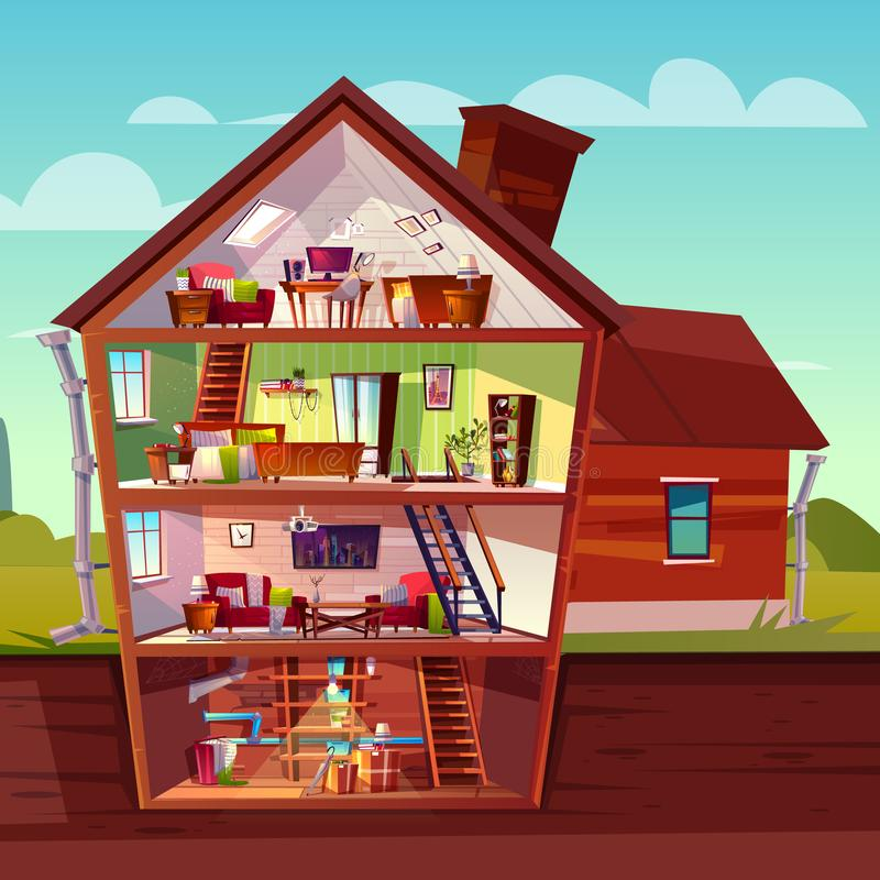 Vector cartoon multistorey house in cross section royalty free illustration