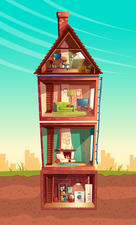 Vector cartoon multistorey house in cross section vector illustration