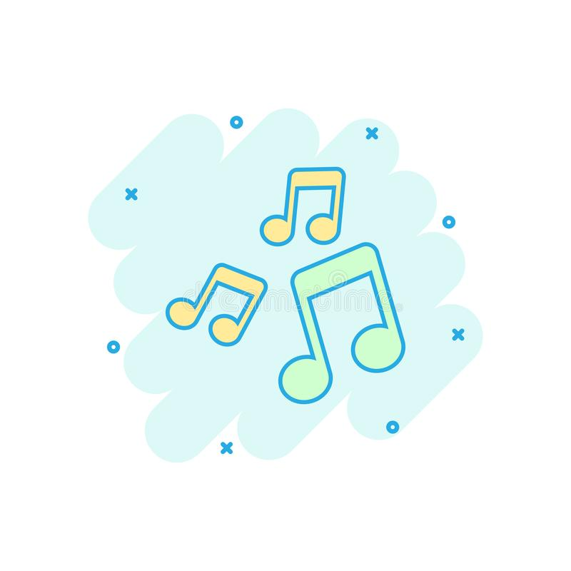 Vector cartoon music note icon in comic style. Sound media concept illustration pictogram. Audio note business splash effect vector illustration