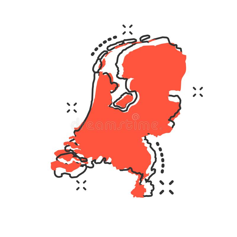 Vector cartoon Netherlands map icon in comic style. Netherlands royalty free illustration