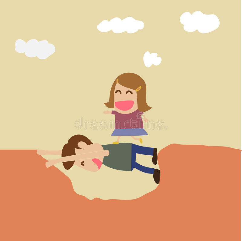 Free Vector Cartoon Of Boy Help Girl Crossing Hole Stock Images - 30793394