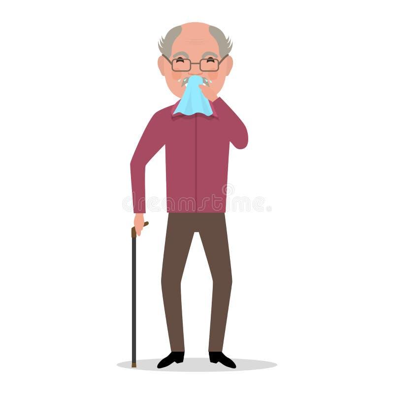 Vector cartoon old man caught cold, sneezing stock illustration
