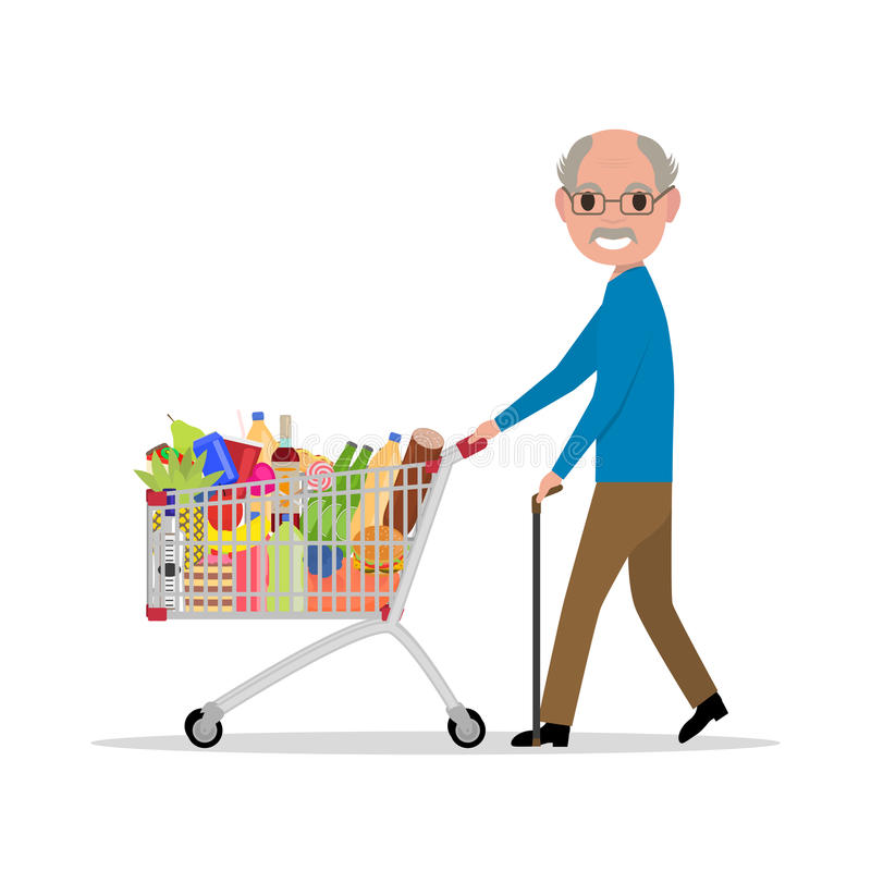 Vector cartoon old man with a shopping trolley stock illustration