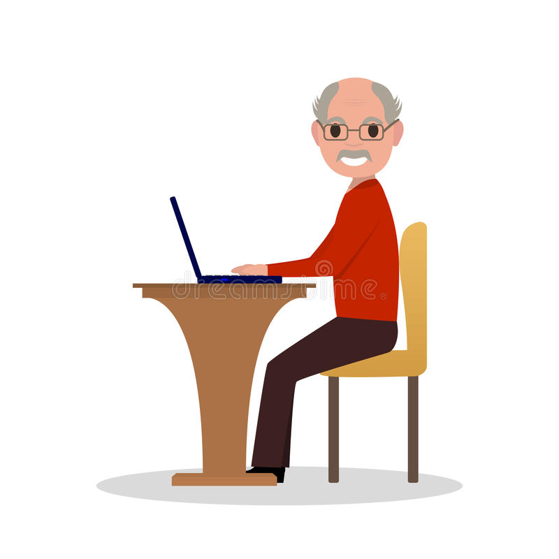 Vector cartoon old man sitting at desk with laptop stock illustration