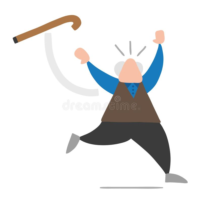 Vector cartoon old man throwing his walking stick and running. Vector illustration cartoon old man throwing his walking stick and running stock illustration