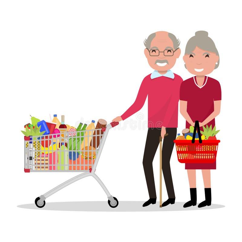 Vector cartoon old people shopping supermarket royalty free illustration