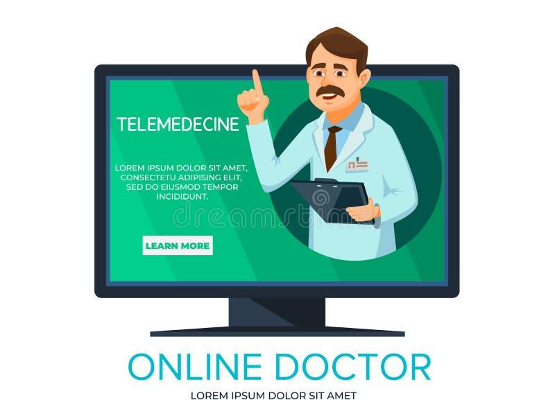 Vector cartoon online doctor consultation. Vector cartoon online doctor. Illustration with man doctor providing consultation from computer screen. Telehealth royalty free illustration