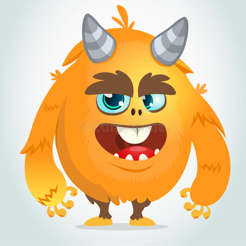 Vector cartoon of an orange fat and fluffy Halloween monster. Isolated vector illustration