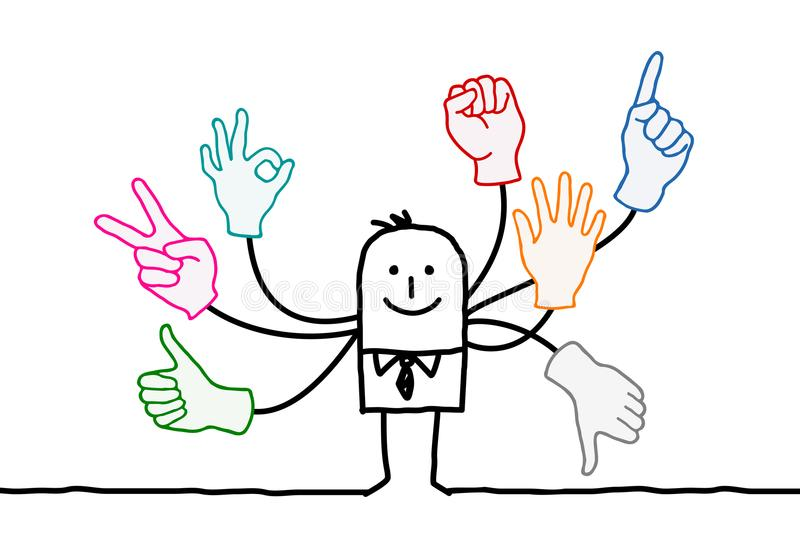 Cartoon Orator with Multi Hands Signs stock illustration