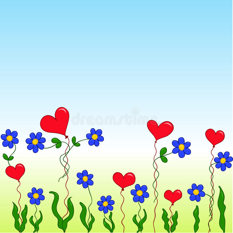 Download Cartoon Flowers And Hearts Stock Vector Illustration Of Image