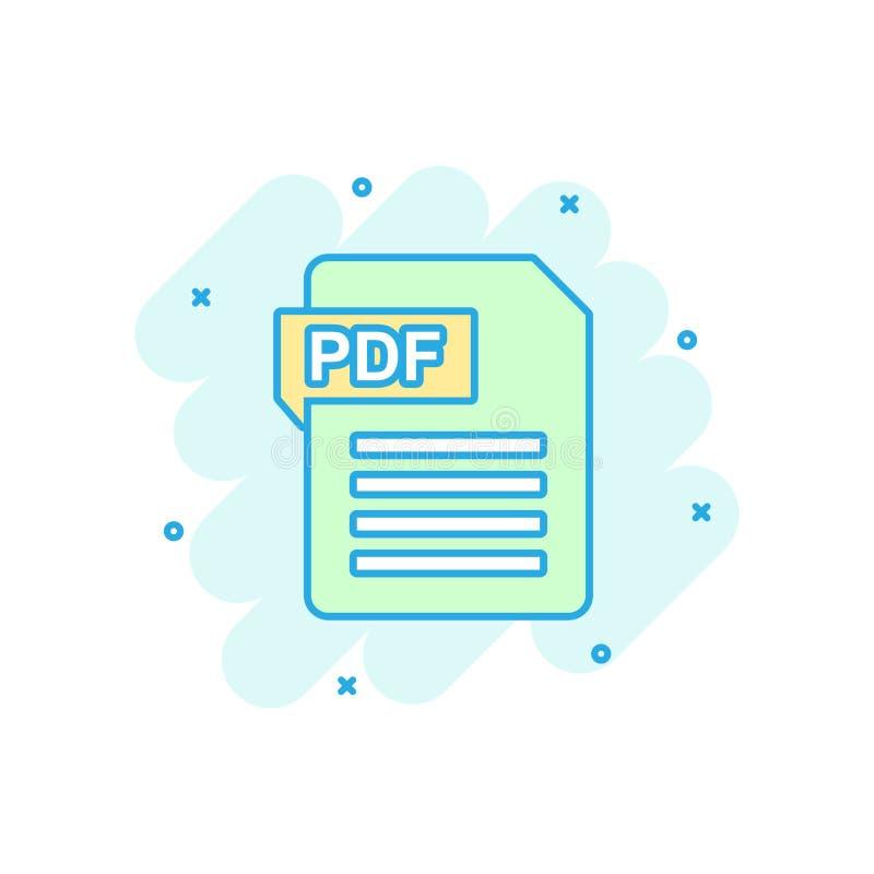 Vector cartoon PDF download icon in comic style. PDF format sign illustration pictogram. Document business splash effect concept.  vector illustration
