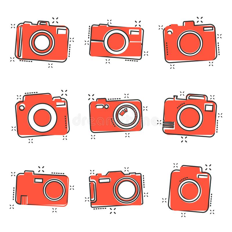 Vector cartoon photo camera set icon in comic style. Photographer cam sign illustration pictogram. Camera business splash effect vector illustration