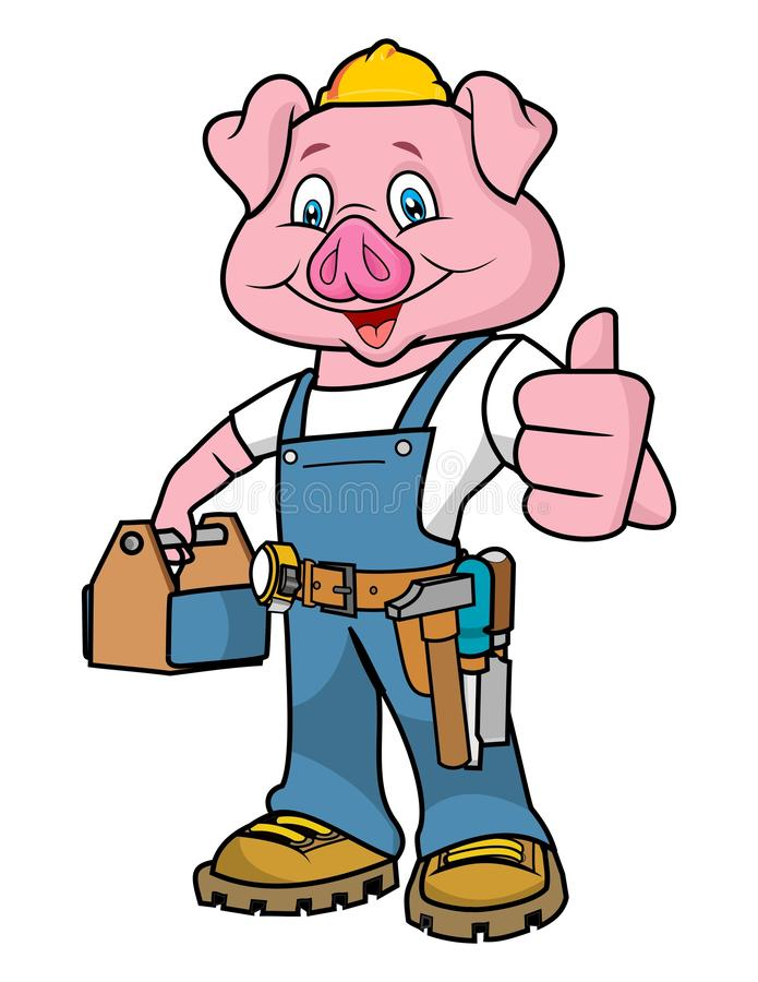 Vector - Cartoon of pig mechanic thumb up royalty free illustration