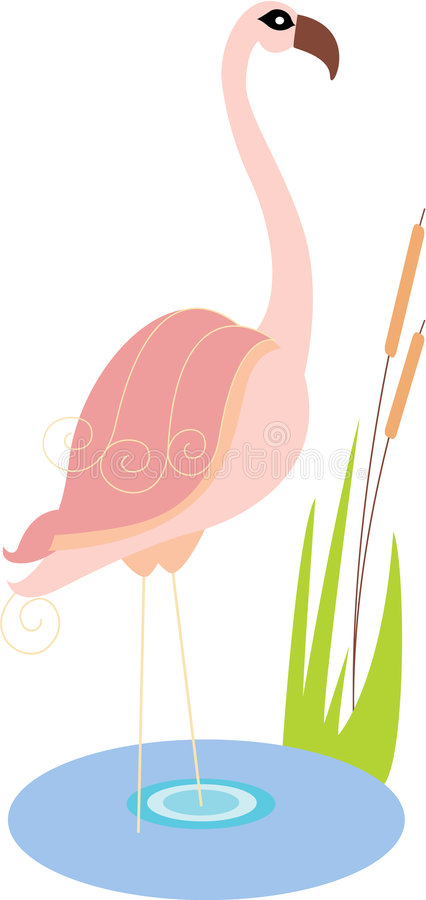 Vector Cartoon Pink Flamingo Royalty Free Stock Photos