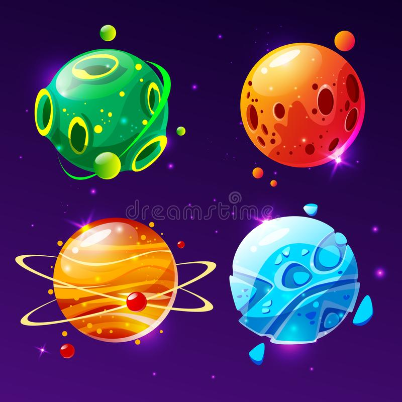 Vector cartoon planets for game design set stock illustration