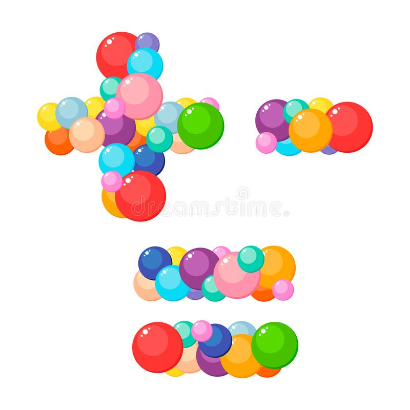 Vector cartoon plus, minus, equals for kids of the colored balls royalty free illustration