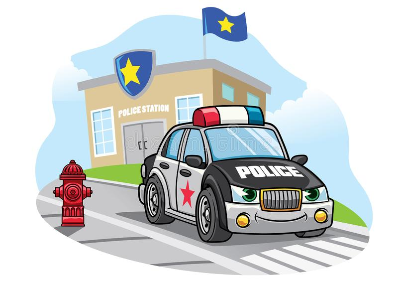 Cartoon police car in front of police office vector illustration