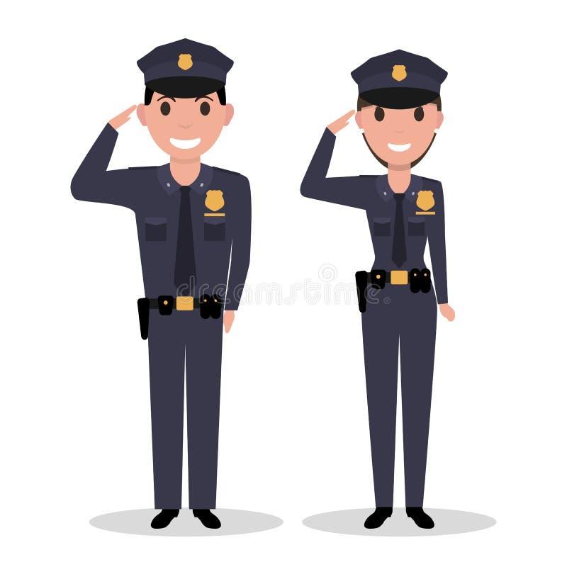 Vector cartoon policeman and police woman salutes royalty free illustration