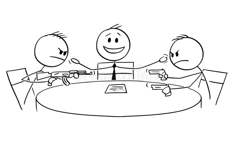 Vector Cartoon of Political Debate in Television with Host and Two Aggressive Armed Guests or Opponents. Vector cartoon stick figure drawing conceptual stock illustration
