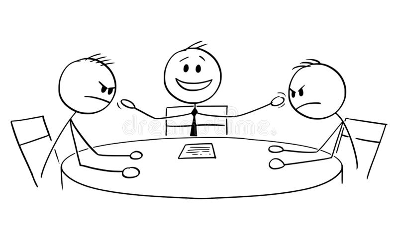Vector Cartoon of Political Debate in Television with Host and Two Aggressive Guests or Opponents. Vector cartoon stick figure drawing conceptual illustration of vector illustration