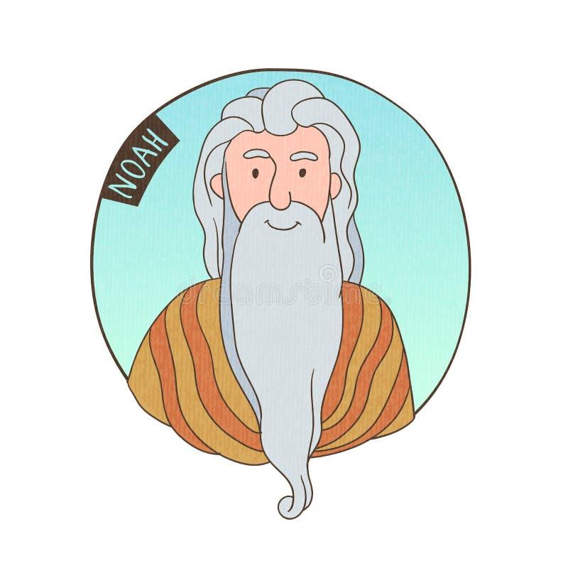 Vector cartoon portrait of old Noah. Bible illustration for kids royalty free illustration