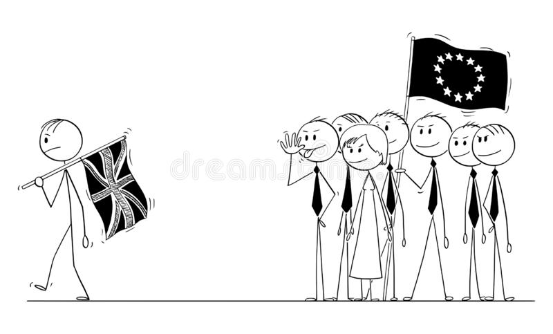 Vector Cartoon of Prime Minister with Flag of UK or United Kingdom is Leaving European Union or EU during Brexit with No. Cartoon stick drawing conceptual stock illustration