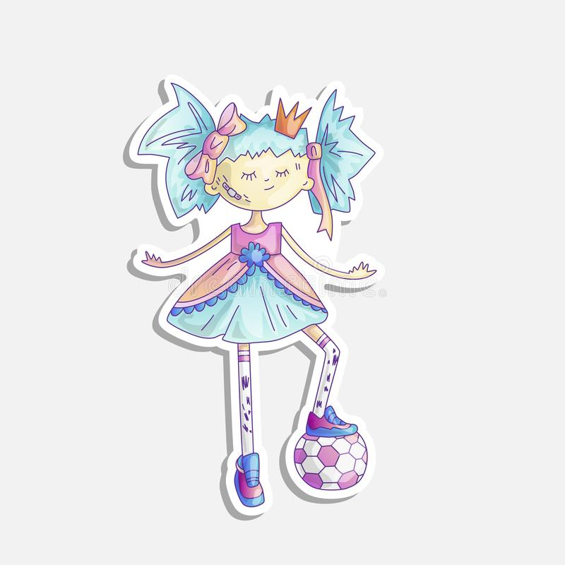 Vector cartoon princess illustration. Sassy girl princess with soccer ball and in cute fairy tail dress and crown. Cute royalty free illustration