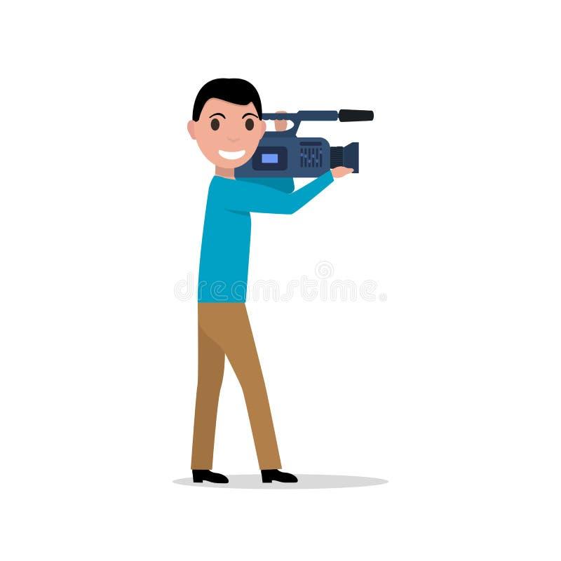 Vector cartoon professional videographer royalty free illustration