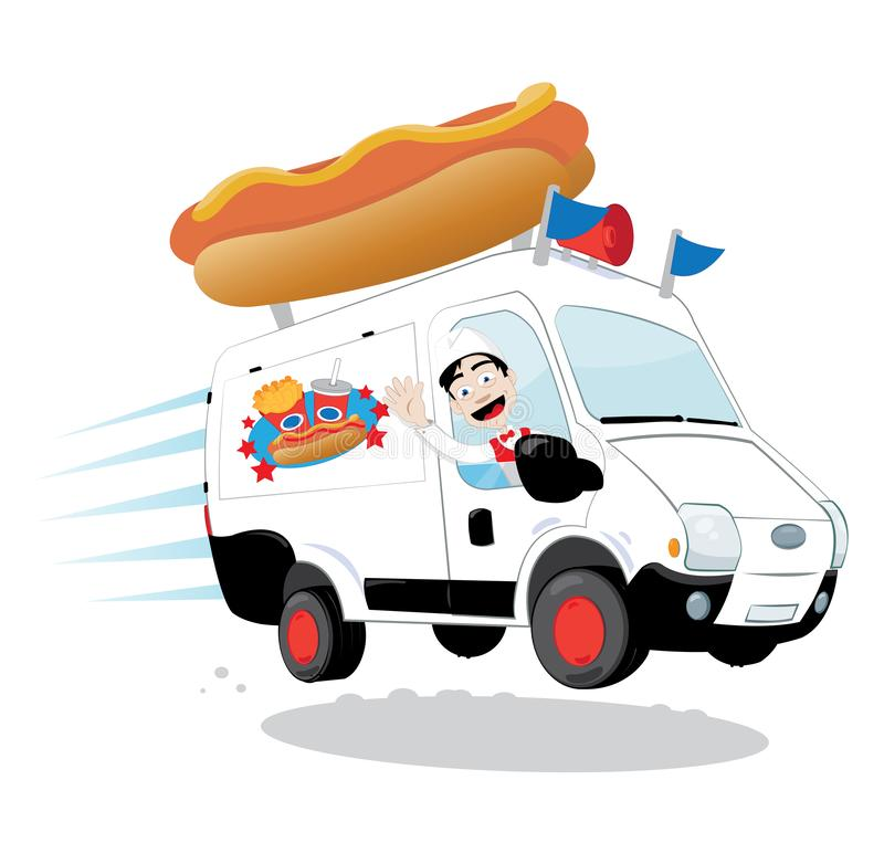 Funny hot dog van driven by a friendly man cheering and smiling stock illustration