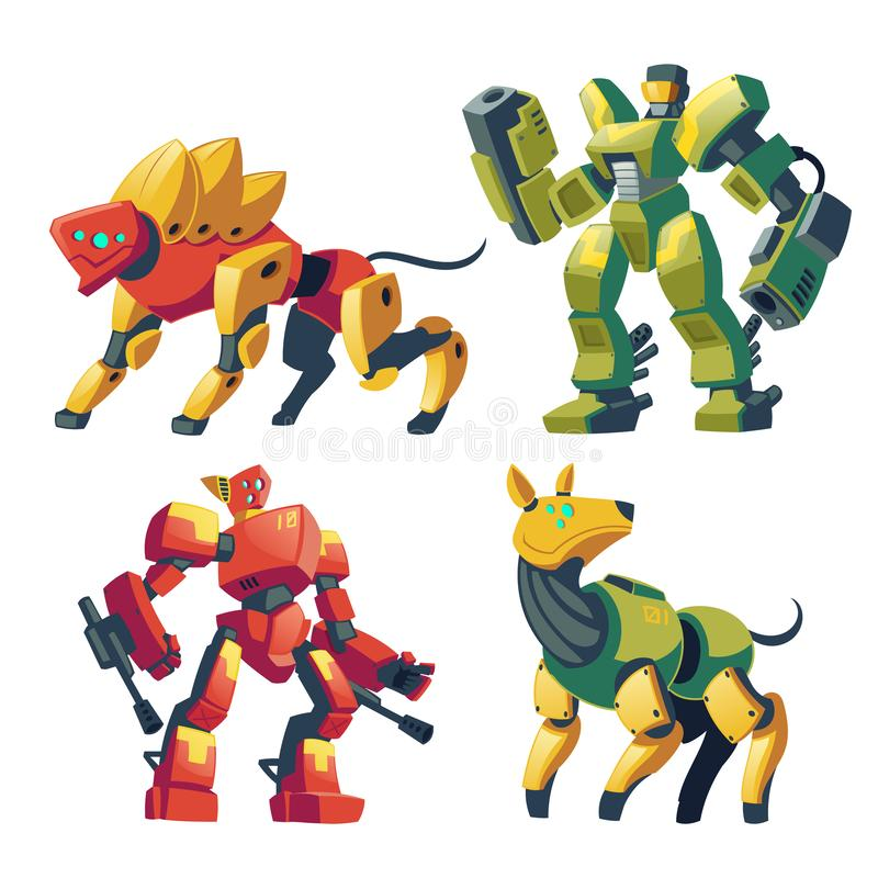 Vector cartoon robot guards, futuristic battle androids. Vector cartoon combat robots and mechanical dogs. Battle androids with artificial intelligence, pet in royalty free illustration