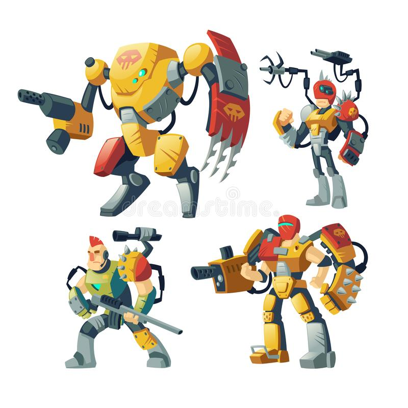 Vector cartoon robot guards, futuristic exoskeleton armor. Vector cartoon robot guards, human in exoskeleton armor. Battle androids with artificial intelligence vector illustration