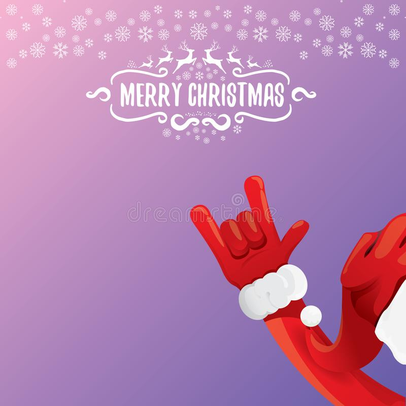 Vector cartoon rock n roll Santa Claus with calligraphic greeting text on night violet background with snowflakes. Merry vector illustration
