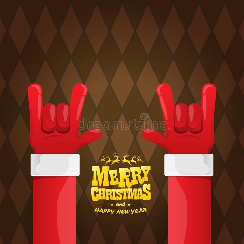 Vector cartoon rock n roll Santa Claus character with gold calligraphic greeting text on brown plaid background. Merry vector illustration