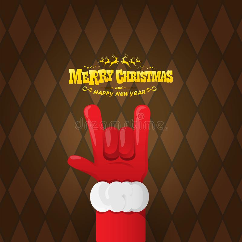 Vector cartoon rock n roll Santa Claus character with gold calligraphic greeting text on brown plaid background. Merry stock illustration