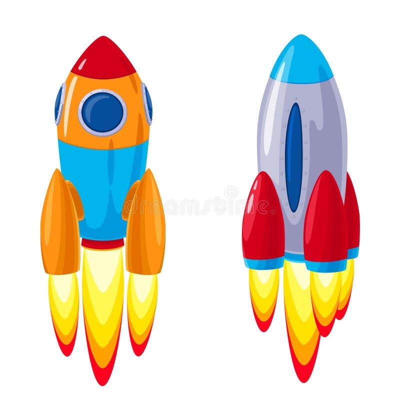 Vector cartoon rockets, spaceships set vector illustration