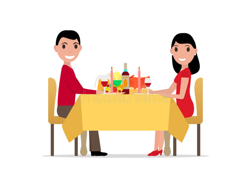 Vector cartoon romantic dinner by candlelight. Vector illustration cartoon romantic dinner by candlelight, meeting of man and woman. Rendezvous lovers. Meet stock illustration