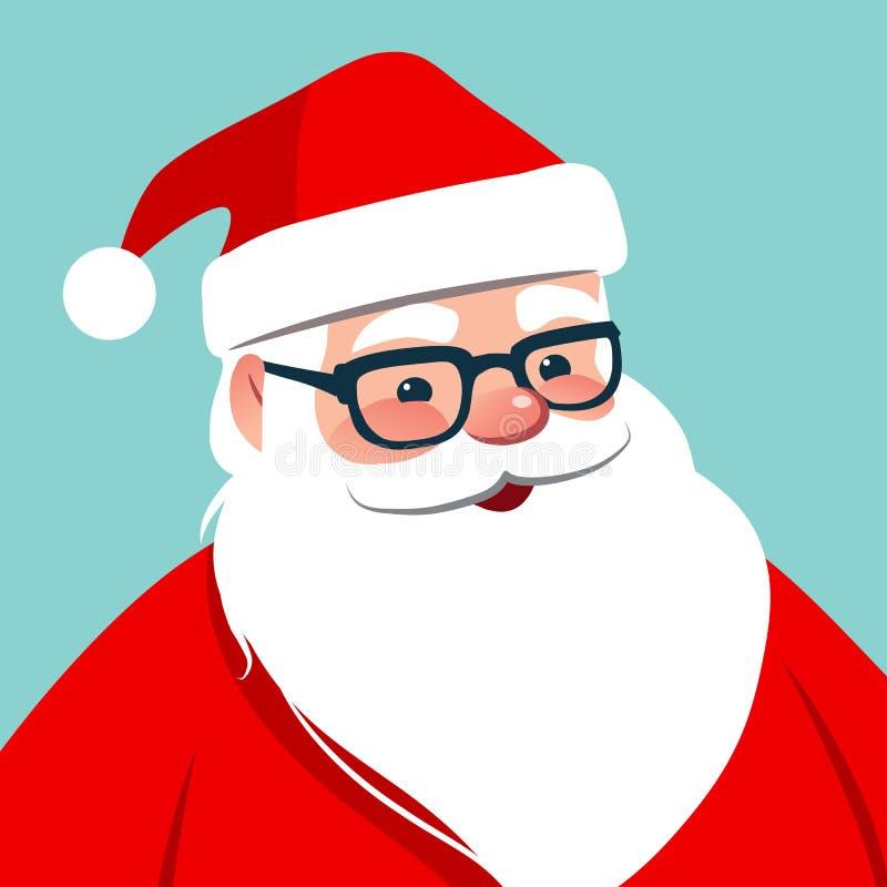 Vector cartoon Santa Claus character portrait illustration. Friendly smiling Santa wearing eyeglasses isolated on aqua blue. stock illustration