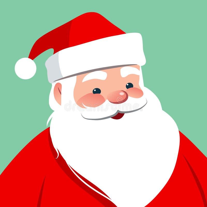Vector cartoon Santa Claus character portrait illustration. Friendly smiling traditional Santa isolated on aqua blue. Christmas w royalty free illustration